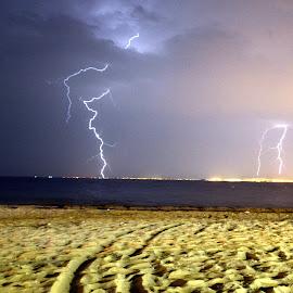 Lightning by Iulia Radu - Landscapes Weather ( thunder, thunderstorm, sea, night, storm )