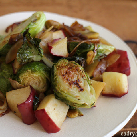 Roasted Brussels Sprouts & Apples with Caramelized Onions and Pistachios