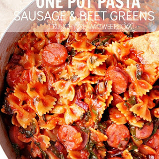 One Pot Pasta with Sausage and Beet Greens