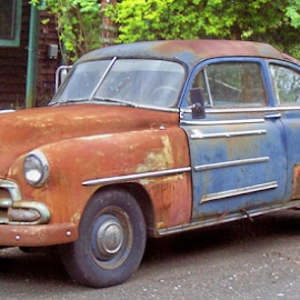 RUSTY FRANKENSTEIN by William Thielen - Novices Only Objects & Still Life ( orange, old, cobbled, worn, rusty, chevy, weathered, character, urban, altered, patina, chevrolet, blue, chopped, seattle, frankenstein, brown )