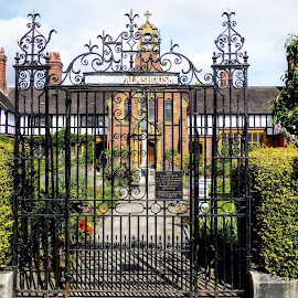 Cant Get Through These Large Gates  by Ian Popple - Buildings & Architecture Statues & Monuments ( private residence, worcester, worcestershire, large black gates, iron )