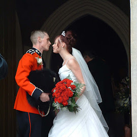 going in for the kiss by John Davies - Wedding Bride & Groom ( church, wedding, bride & groom )