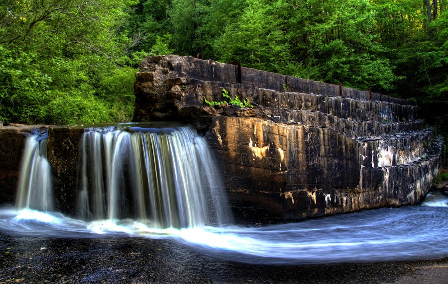 Chochran Mill Wall Of Water by James Donaldson - Landscapes Waterscapes ( water scene, chochran mill, water fall, atlanta )