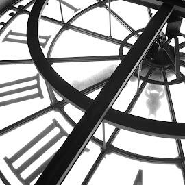 time by Giuseppe Di Giulio - Buildings & Architecture Architectural Detail ( paris, time, parigi, b&w, clock, gdg )