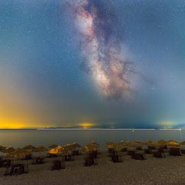 Night at Pithagoreio beach by Grigoris Koulouriotis - Landscapes Beaches ( sand, umbrellas, night photography, sea, long exposure, beach, milky way, nightscape )