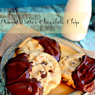 Chocolate Dipped Peanut Butter Chocolate Chip Cookies