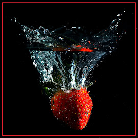 Strawberry Splash by Lesley Hudspith - Food & Drink Fruits & Vegetables ( black background, water, red, splash water photography, strawberry,  )