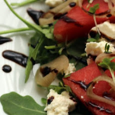Watermelon Salad with Crumbled Feta and Balsamic Glaze