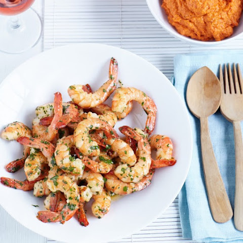 Garlic Prawns With Romesco Sauce