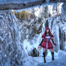Red by Dave Zuhr - People Portraits of Women ( sexy, girl, red, winter, riding, beautiful, waterfall, d_zuhr, dzuhr, hood )