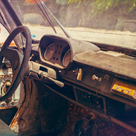 old abandoned car interior covered with dust by Roberto Sorin - Transportation Automobiles ( auto, mechanic, seven, decay, inside, wreck, imagery, antique, abandoned, dust, dashboard, 50's, exploration, odometer, old, past, textile, messy, seat, spooky, condition, closeup, light, vintage, derelict, automotive, speedometer, steering wheel, motor, old-fashioned, obsolete, aluminum, interior, vehicle, automobile, rust, car, dark, power, broken, dirty, grunge, retro, rusty, ruined, grey, damaged, kilometers, run-down, 60's )