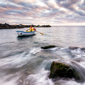 by Luca Rosacuta - Landscapes Waterscapes ( waterscape, waves, sea, fisherman, landscape, boat, rocks )