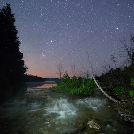 Shadow Rapids by Darryl Van Gaal - Landscapes Starscapes ( water, canada, bruce, landscape astrophotography, van gaal, night photography, stars, darryl van gaal, rapids, northern ontario, parks canada, astrophotography, long exposure, night )