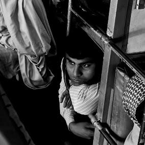 Journey by Biraj Dutta - People Portraits of Men ( waiting, journey, train, lonely, alone )