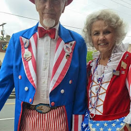 Award Winning Photographer and Photojournalist. Western North Carolina. Fourth of July 2015. Black Mountain N.C. Bullman Film and Photography. James Harold Bullman Here's a nice Couple of many years patriotic dressed out for the Holiday Weekend July 4th. Asheville-Pro Photog-Friends Asheville Tour. by James Bullman - People Couples (  )