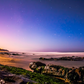 Beacht in a moonlit night  by Paulo Lopes - Landscapes Beaches ( sand, stars, sea, rock, beach, moonlight )