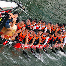 Dragon Boat Team by Koh Chip Whye - Transportation Boats