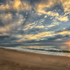 Sunrise Burleigh Heads by Dom Del - Landscapes Sunsets & Sunrises ( clouds, water, sand, beach, sunrise )