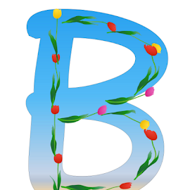 ALPBHABET - B by Dipali S - Typography Single Letters ( headline, graphic, ornate, decorative, illustration, tulips, type, spring, decor, calligraphy, quote, inscription, place, note, classic, typographic, template, element, icon, text, creative, decoration, letter, font, art, advertisement, calligraphic, message, sign, frame, background, artistic, alphabet, typography, english, design )