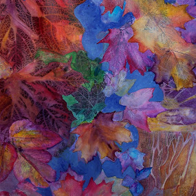 Chaos in my Brain by Vijay Govender - Painting All Painting ( mixed media, leaves, maple )