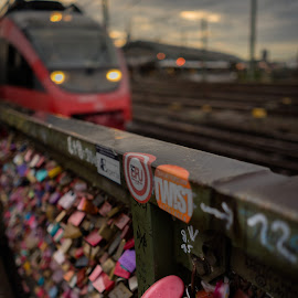 love lock by Varok Saurfang - Artistic Objects Other Objects ( love, station, lock, train, pink, evening )