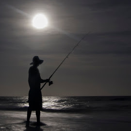 Fishing By Moonlight by Geoffrey Wols - Sports & Fitness Other Sports ( moon, fish, night, beach, fishing, fisherman, man, moonlight )