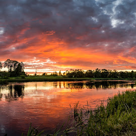 Sunset by Kristian Pikner - Landscapes Sunsets & Sunrises ( estonia, nature, sunset, landscapes, sun, river,  )