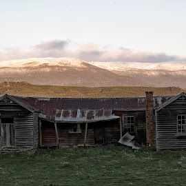 Western Tiers by Greg Jones - Landscapes Mountains & Hills ( mountains, snow, old houses, valley, landscape )