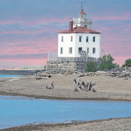 Fairport Harbor Lighthouse by Melissa Davis - Digital Art Things ( fairport harbor, sunset, lighthouse, missysphotography, lake erie )