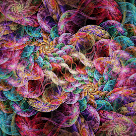 Interwined Spirals by Peggi Wolfe - Illustration Abstract & Patterns ( abstract, wolfepaw, gift, unique, bright, intertwine, illustration, spiral, fun, digital, print, décor, pattern, color, unusual, fractal )