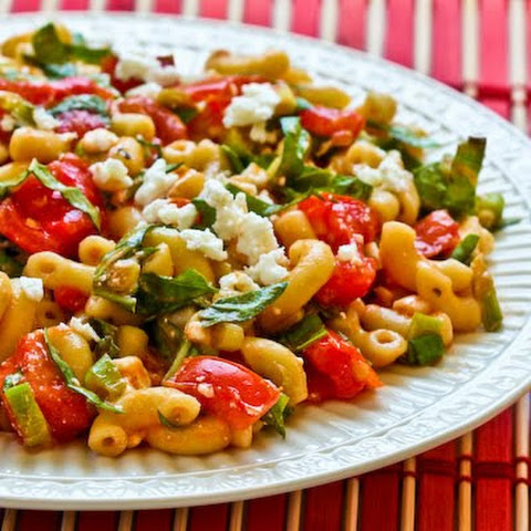 Macaroni Salad Recipe with Fresh Tomatoes, Fresh Basil, and Feta (Meatless)