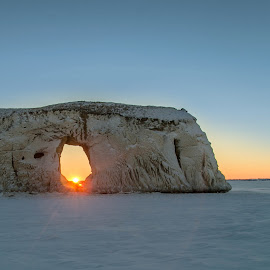 Winter Bliss by Laura Gardner - Novices Only Landscapes ( winter, lake sakakwea, nd, ice, cliff )
