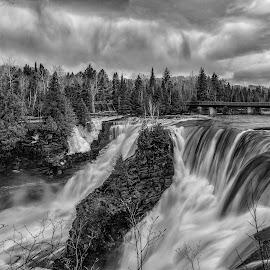 Kakabeka Falls B/W by Don Malcolm - Landscapes Waterscapes ( clouds, details, waterscape, bw, landscape )