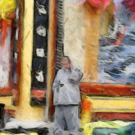 Monk with cell phone by Jillian Schleger - Painting All Painting ( colour, temple, monk, korea, painting )