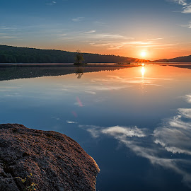 Reflecting by Jerry Boyden - Landscapes Sunsets & Sunrises ( reflection, sunset, lake, adirondacks, pond )