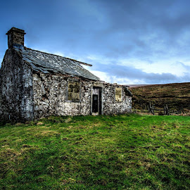 derelict building, yorkshire dales, uk by Keith's Captures - Buildings & Architecture Architectural Detail ( clouds, hills, full frame, building, old, grass, ruin, beautiful, white, sky, d750, wide angle, cottage, moors, derelict, nikon, black )