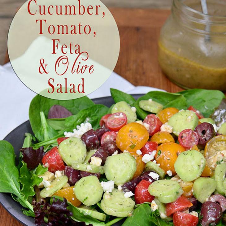 Cucumber, Tomato, Feta & Olive Salad Recipe | Yummly