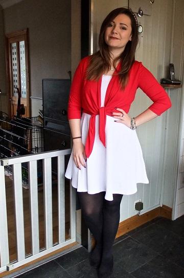 White skater dress with red bolero