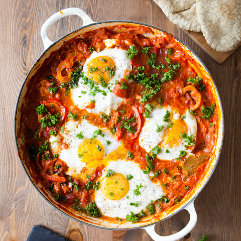 Breakfast Eggs In Spicy Tomato Sauce