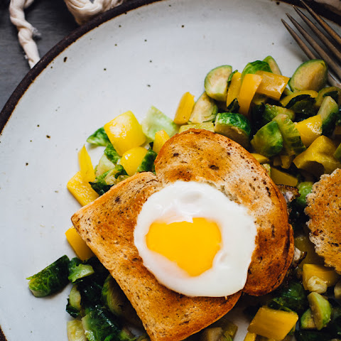 Egg-in-a-Basket with Miso Butter Brussels Sprouts