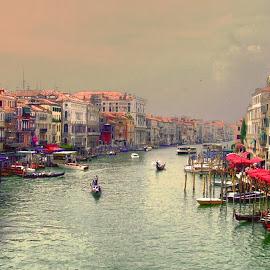 La Bela Veneza by Ana Paula Filipe - City,  Street & Park  Street Scenes ( veneza city, street, boat, river )