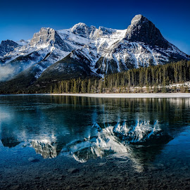 Ha Ling Peak by Brent Clark - Landscapes Mountains & Hills ( reflection, mountains, winter, landscape, ha ling peak )