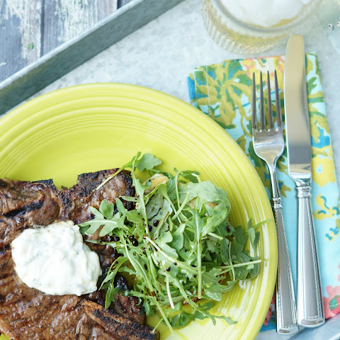 Marinated T- Bone Steaks with Garlic and Herb Aioli