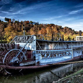 W.P Snyder by Scott Bryan - Transportation Boats ( old, sky, ohio, autumn, ship, marietta, trees, sternwheel, boat, dock, river )