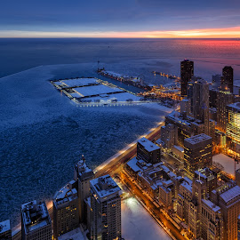 Breaking Dawn by Vinod Kalathil - City,  Street & Park  Skylines ( navy pier, building, skyline, lake michigan, illinois, winter, winterscape, solstice, citiscape, lake, chicago, sunrise, united states, city )