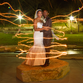 The Magic by Matthew Chambers - Wedding Bride & Groom ( light painting, wedding, fireworks, matthew chambers photography, bride and groom )