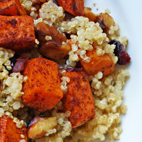 Quinoa Sweet Potato Salad with Walnuts & Dried Cranberries
