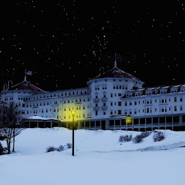 Mt. Washington Hotel  by Alex  Wolf - Buildings & Architecture Statues & Monuments ( moon, alex wolf, new england, wolfproduction.us, stars, snow, mt. washington hotel, dark, hotel, mt. washington, new hampshire )