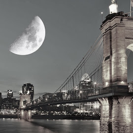 Bad Moon Rising. by Jim Dawson - Novices Only Landscapes ( #cincinnati #john a roebling #bridge #river #ohio #kentucky #skyline #city )