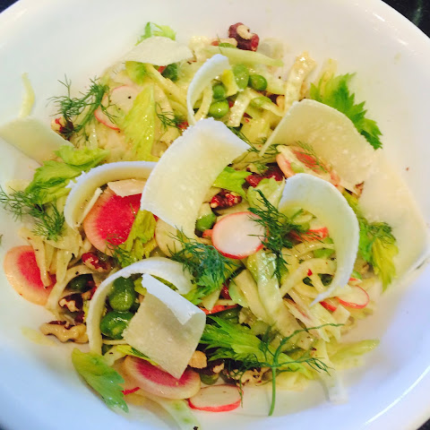 Fennel Fava Bean Radish and Walnut Salad in Lemon Dijon Dressing